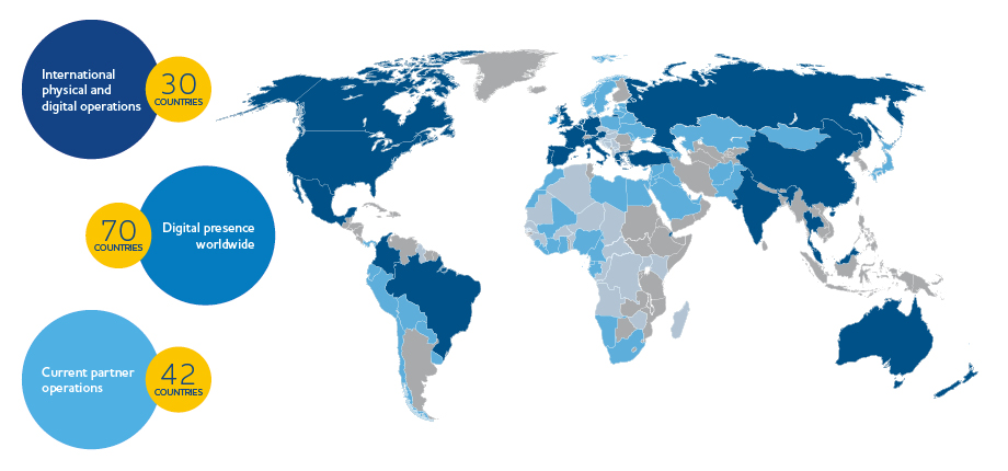 Map of all the global areas touched by Manheim and Cox Automotive's companies