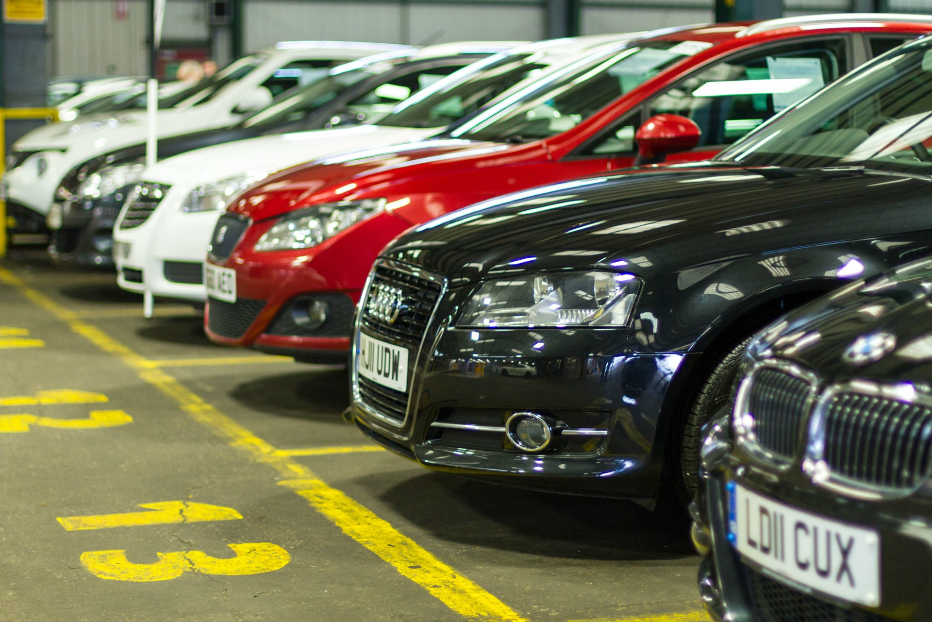 Part exchange cars lined up ready for auction