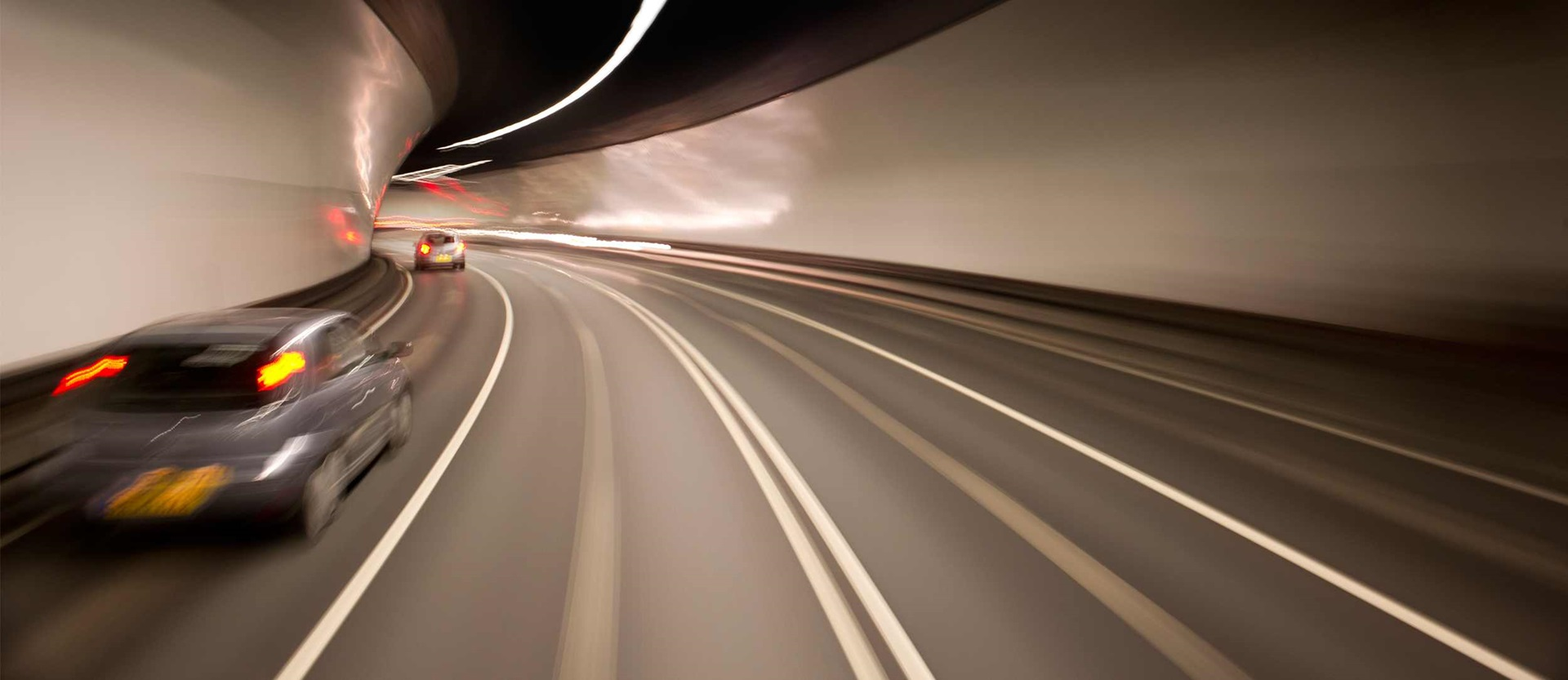 Cars driving through a tunnel