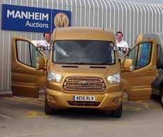 James Davis, Matthew Davock with the golden Transit 50th van