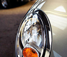Close up of a car headlight