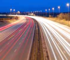 Lights from vehicles on a motorway