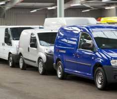 Line up of vans at an auction centre