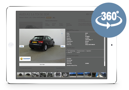 View vehicles using 360° images on Manheim.co.uk