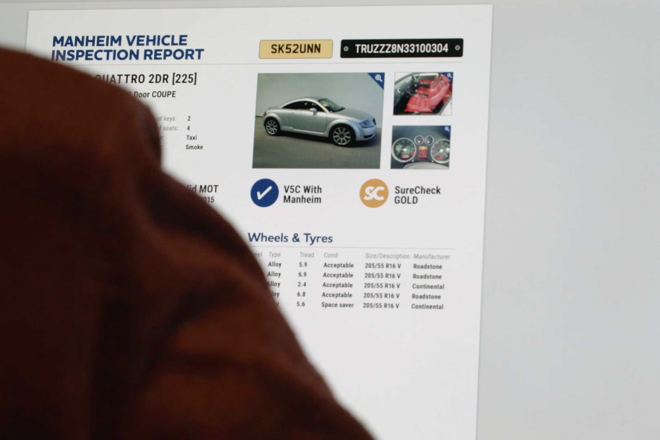Vehicle inspection reports at Manheim