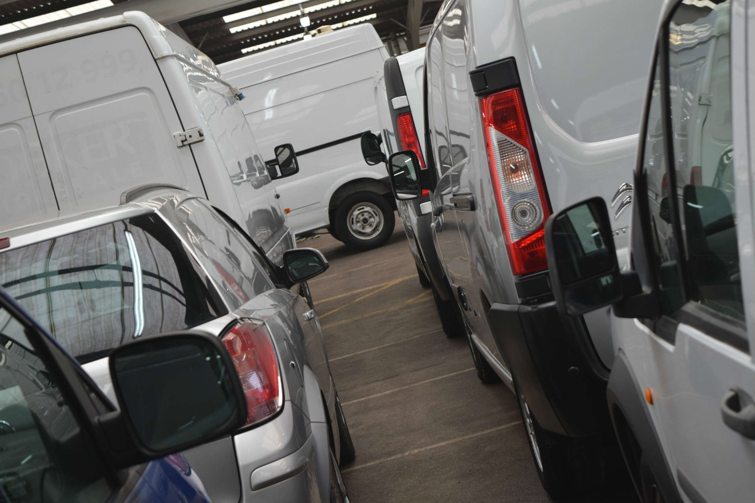 Vans lined up for a Manheim auction