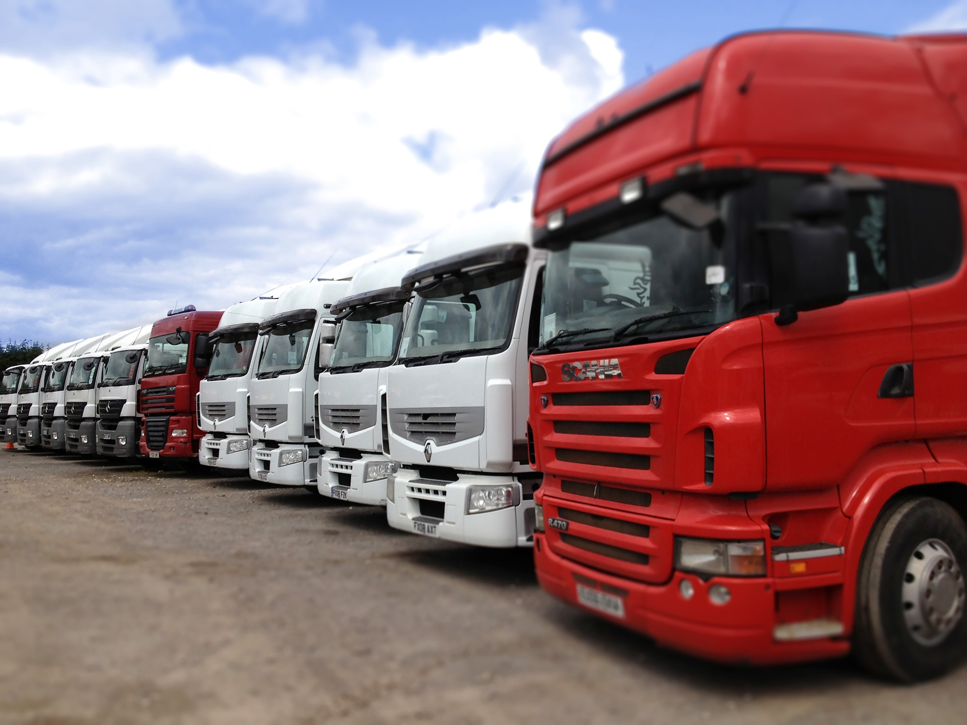 A line of of trucks