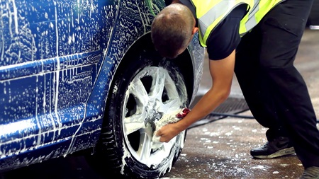 A car being valeted at Manheim Auction Leeds